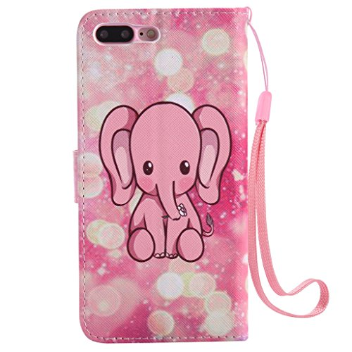 iPhone 7 Plus custodia, con protezione per lo schermo in vetro temperato] antigraffio, fatcatparadise (TM) Custodia posteriore morbida in silicone, design colorato motivo magnetica PU custodia a porta Pink cute elephant
