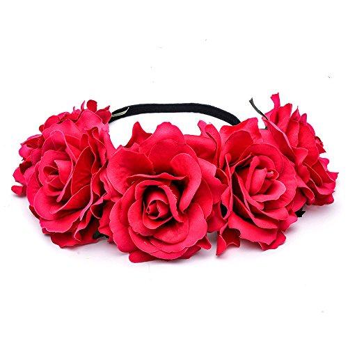Mujer Flor del Tocado,Flor de Pelo Cabeza para Novia Boda Hecho a Mano (Rojo)