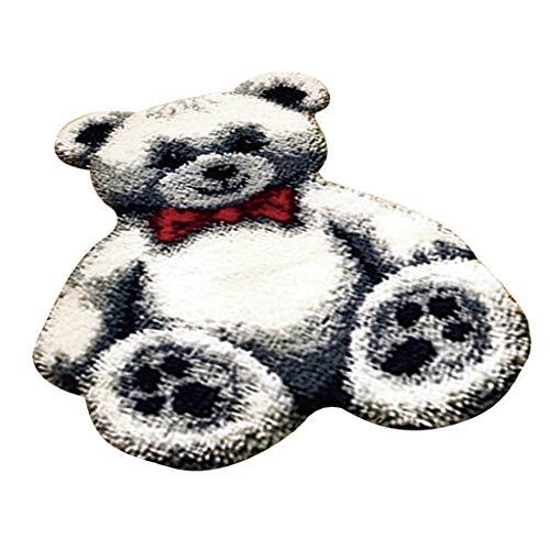 IPOTCH Knüpfteppich Formteppich für DIY Handarbeit Teppich Toy Bär Muster für Kinder Handwerk/Geschenk - Weiß
