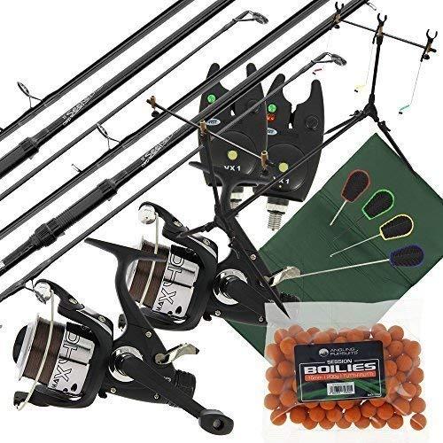 2 x Karpfen Sucher Fischen stangen + 2 x Max 40 2BB Rollen + 2 x VX1 Bissanzeiger + Session Angelrute Pod + quickfish Matte + 4 St. Werkzeuge & Fischköder