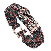 QWERST Bracelet,Outdoor Men Bracelet Helmet Umbrella Rope Handmade Rope Bracelet Retro Ladies Jewelry, Casual Sports, Bracelets For Anniversary Wedding Party Weddings Red Stripe