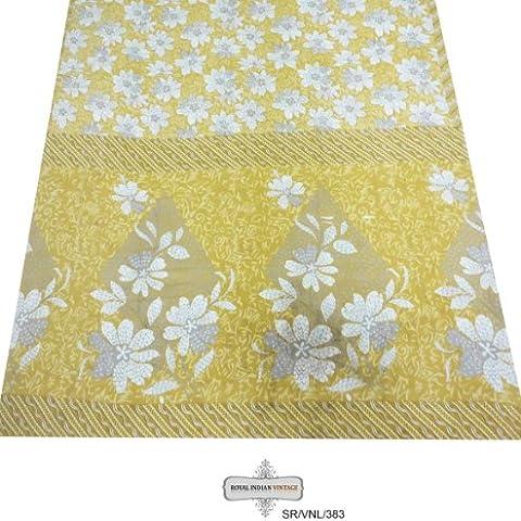 arte de la tela de color beige sari vendimia decoración del hogar mezcla de seda crepé utilizado antiguo floral impreso costura 5yd cortina sari drapeado mujeres indígenas envuelven el vestido hecho a mano tejido reciclado