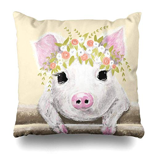 Klotr Kissenbezug Tee Pink Baby Cute Little Pig Floral Wreath Kid Hand Illumination Wildlife Watercolor Calendar Design Pillowcase Square Size 18 X 18 Inches Zippered Home Decor Cushion Case -
