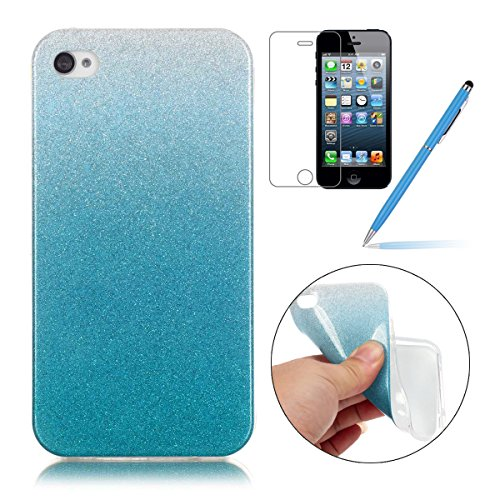 iPhone 4 Case,iPhone 4S Hülle - Felfy Apple iPhone 4/4S Ultra Slim Ultradünn Case Soft Gel Flexibel TPU Silikonhülle mit Bling Sternchen Gradient Farbe Design Protective Scratch Resistant Bumper Case  HellBlau Case