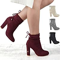 ESSEX GLAM Womens Smart Block Heel Stretch Upper Ladies Pull On Lace Chelsea Ankle Boots Shoes Size 3-8