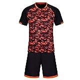 KINDOYO Herren & Jungen Fußball Training Sport Oberteile T-Shirt Fußball Jersey, Fußball-Kit (Schwarz,EU M = Tag L)