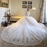 WYEING. Braut Hochzeitskleid Langer Schwanz,Weiß V-Ausschnitt Spitzenkleider Lang 3/4-Arm Kirchliche Hochzeit Brautkleid Abendkleid,Customize
