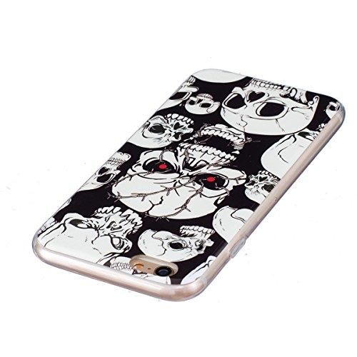 iPhone 6S Plus Hülle, iPhone 6 Plus Hülle, Gift_Source [ Starlight Schmetterling ] Hülle Case Transparent Weiche Silikon Schutzhülle Handyhülle Schutzhülle Durchsichtig TPU Crystal Clear Case Backcove E1-Roter Augenschädel