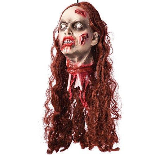 Carnival Toys - Cabeza rebanada de mujer para colgar con pelo, 60 cm, multicolor (8518)