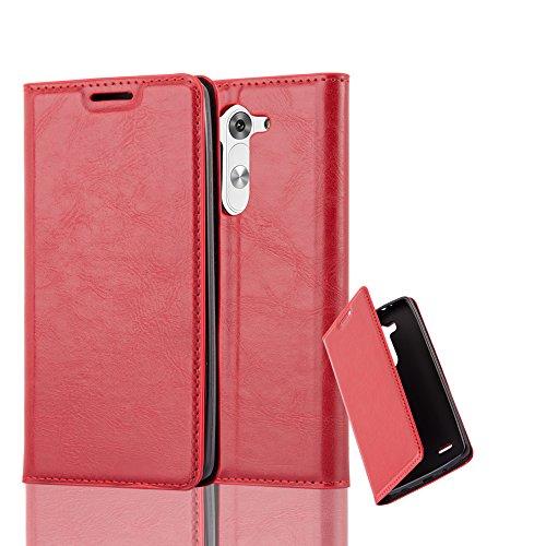 Cadorabo Hülle für LG G3 Mini / G3 S - Hülle in Apfel ROT – Handyhülle mit Magnetverschluss, Standfunktion und Kartenfach - Case Cover Schutzhülle Etui Tasche Book Klapp Style