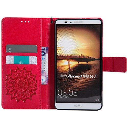 Für Huawei Mate 7 Fall, Prägen Sonnenblume Magnetische Muster Premium Soft PU Leder Brieftasche Stand Case Cover mit Lanyard & Halter & Card Slots ( Color : Purple ) Red