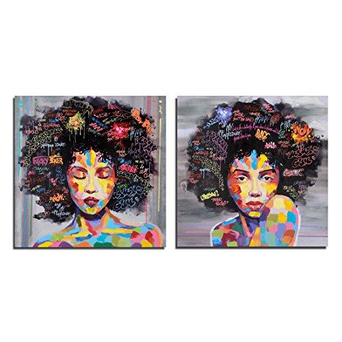 Design original Pop Street Graffiti Art mural Noir Sexy Femme Peinture à l'huile sur toile sur des Impressions pour le salon Décoration murale, Set, 50 x 50 cm