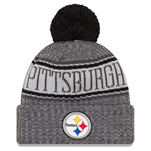 New Era Pittsburgh Steelers Beanie NFL 2018 Sideline Sport Graphite Knit Black/Grey - One-Size (Knit Browns Sideline Hat)
