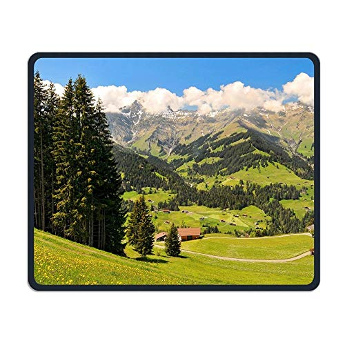 ASKSSD Mouse Pad Tree Hut Mountains Field Rectangle Non-Slip 9.8in11.8 In Unique Designs Gaming Rubber Mousepad Stitched Edges Mouse Mat