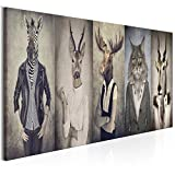 decomonkey | Bilder Natur 150x50 cm XXL | Leinwandbilder | Vlies Leinwand | Wand | Bild | Wandbild | Kunstdruck | Retro Vintage Wanddeko Menschen Zebras Hirsche Tiere Katzen