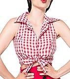 Rote schulterfreie Bluse zum knoten ohne Ärmeln und mit Umlegekragen weiß kariert Retro-Top mit Knöpfen S