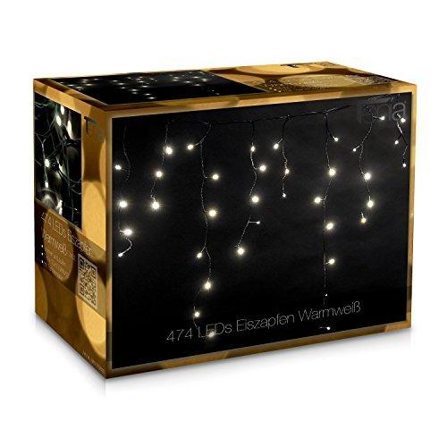 474 LED Noël Stalactite 7m + 10m Blanc Chaud ext/intérieur
