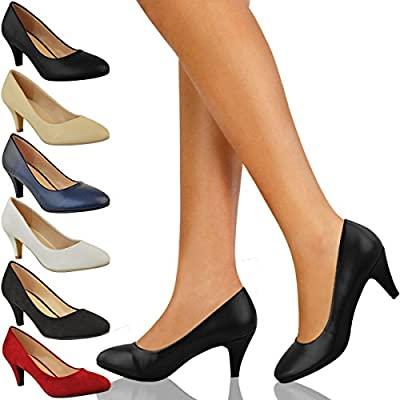 Womens Ladies Low Heel Court Shoes Comfort Work Office Formal Wedding Size New by Fashion Thirsty