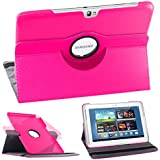 EbestStar - Funda con función atril para Samsung Galaxy Note 10.1 N8000/N8010 (piel, rotación 360º,  incluye protector de pantalla transparente), color rosa