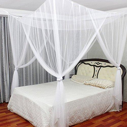 Jeteven Betthimmel Mückenschutz Insektennetz Bettvorhänge für Einzel- Doppelbetten,190*210*240cm Weiß