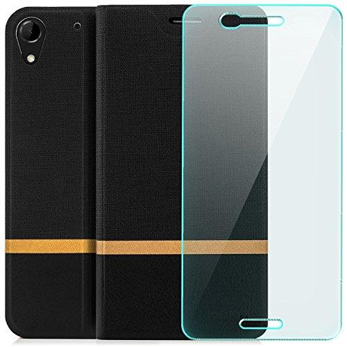 zanasta Tasche + Displayschutz kompatibel mit HTC Desire 728G Dual SIM   Hülle Flip Case Schutzhülle Handytasche mit Kartenfach Schwarz