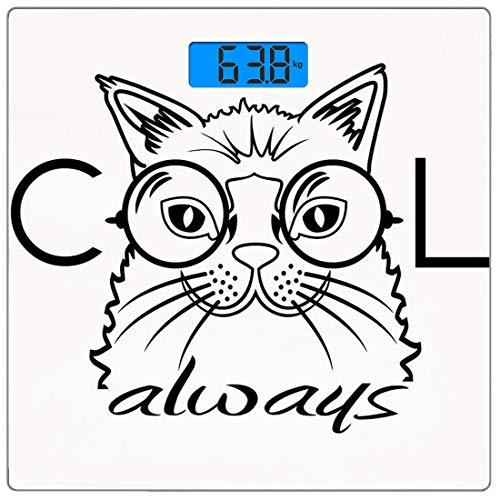 Präzisions-Digital-Personenwaage Cat Ultra Slim-Personenwaage aus gehärtetem Glas Genaue Gewichtsmessungen, cooles Smart Fashion Kitty-Bild in großen Brillen Hipster Trendy Pet Kids Satire-Skizze, Sch