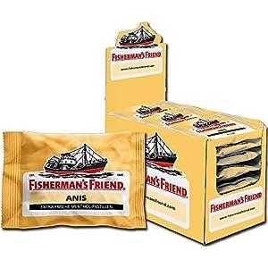 Fisherman's Friend Lakritz, Karton mit 24 Beuteln, Menthol und Lakritz Geschmack, Zuckerfrei für frischen Atem