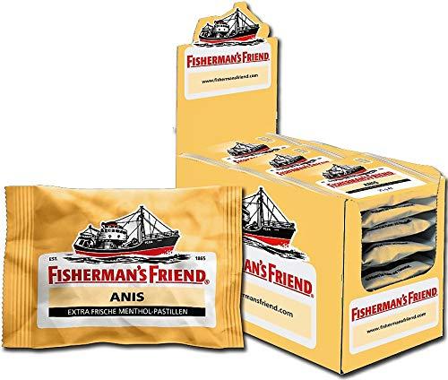 Menthol Mit Zucker (Fisherman's Friend Anis | Karton mit 24 Beuteln | Menthol und Anis Geschmack | Mit Zucker | Für frischen Atem)