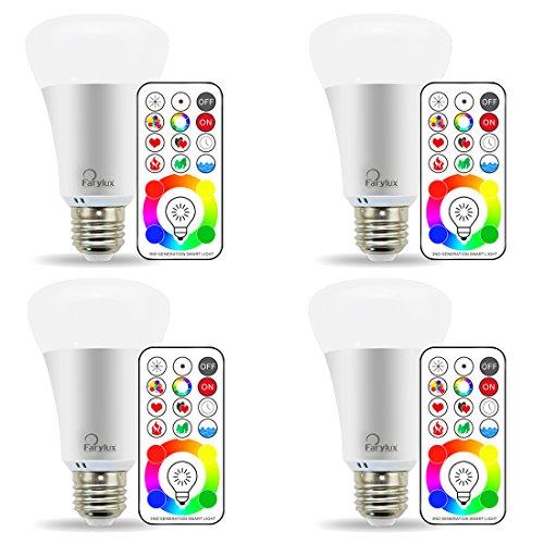 Farylux LED RGBW Farbwechsel Lampe mit Fernbedienung, Dimmbare A19 E27 10W, 90 Farben auswählen, 50W Glühlampe gleichwertig, Doppel Speicher und Wandschalter Steuerung, Warmweiß, 4 Pack (Lampe Speicher)