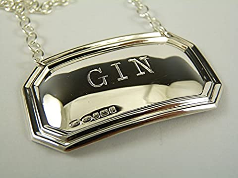 NEW Sterling Silver DECANTER / Wine Label - GIN - Boxed by Broadway Silversmiths
