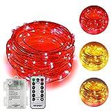 ErChen batteriebetriebene Zweifarbige Led Lichterketten, 33 FT 100 Leds Farbe ändern Dimmbar 8 Modi Silber Kupfer Draht-Lichterketten mit Fernbedienung Timer für Innen Außen (Warmweiß, Rot)
