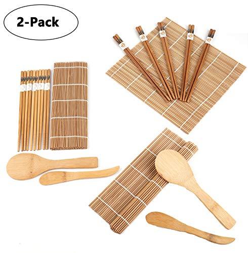 Lawei Juego para hacer sushi de bambú (2 unidades, incluye 4 alfombrillas de bambú para sushi, 10 pares de palillos, 2 pala de arroz, 2 separador de arroz, 100{8d182779301c2b2291b4f460513ca847aa2a1c8a7a1977dc605bba42e376ae31} bambú y utensilios de uso)
