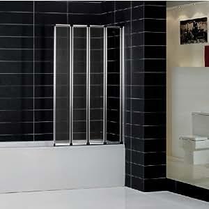 900x1400mm 4 Folding Chrome Shower Bath Screen glass (FF90)