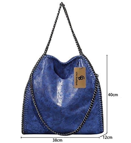 Damen Handtasche Kettenbeutel Schultertasche Umhängetaschen Henkeltasche Mädchen - 38/40/12 cm (B*H*T) Blau