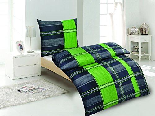 Microfaser Bettwäsche 4-tlg. grün/grau 2x 135x200 Bettbezug + 2x 80x80 Kissenbezug , Öko-Tex Standart 100