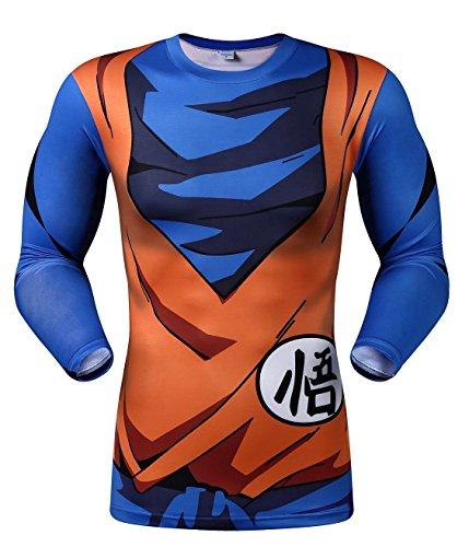 Dragon Ball Hombres Cosplay Camiseta de Largo/Manga Corta Camiseta de compresión de Running para Hombre