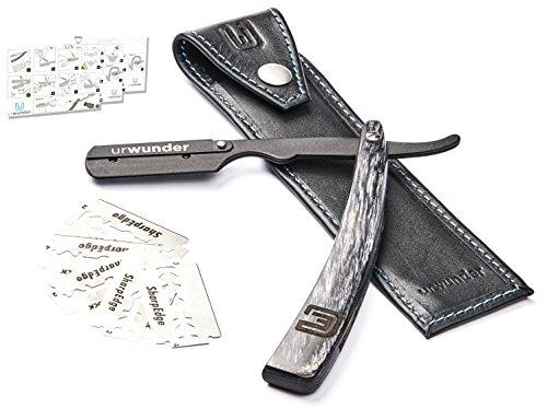 Präzises Premium-Rasiermesser mit Rasieranleitung, Reiseetui aus Leder und Ersatzklingen | Besser aussehen | Ideal für die Selbst-Rasur oder zum Rasieren lassen | urwunder Modell Beardo