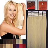 Remy Human Hair Extensions Tape in Hair 16-24inch 20pcs One Set More Colors Beauty Style (16''20Pcs 30g, #613 Light Blonde)