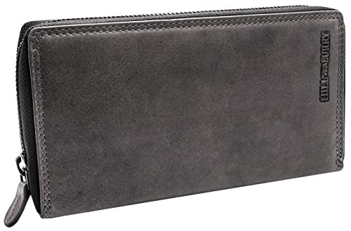 Hill Burry XXL Echt-Leder Portemonnaie | Reißverschluss Portmonee aus weichem Vintage Leder |...
