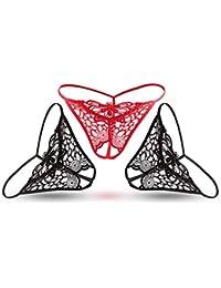 Shirloy Lingerie Sexy érotique Culotte Fendue Perspective Dentelle String  Passion Bikini Creux Tentation 186524c4e45