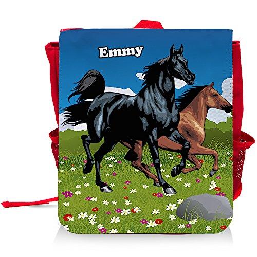 Kinder-Rucksack mit Namen Emmy und schönem Pferde-Motiv für Mädchen