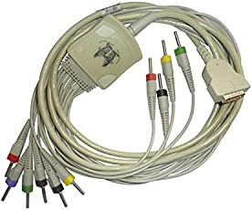 10 Lead ECG Cable compatible with GE 4mm 15 pin banana type.