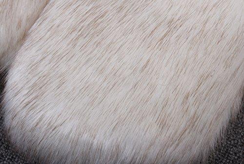 SK Studio Femme Gilet Sans Manche Fausse Fourrure Slim Vest Enfants Hiver Chaud Boléro Blanc Marron