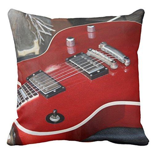 Sinluen Rote Gitarre auf Amp Sofa Kissenbezug Dekorative Couch Kissen Bezug für Wohnzimmer Canvas Schonbezug 16 x 16 cm (Best Gitarre Amp)