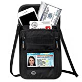 Titular del pasaporte de viaje de rocío Stash oculta cuello bolsa de viaje de bloqueo RFID antirrobo oculto tipo cartera de seguridad bolsillo resistente al agua bolsa cuello pasaporte cartera, Black(New Style)
