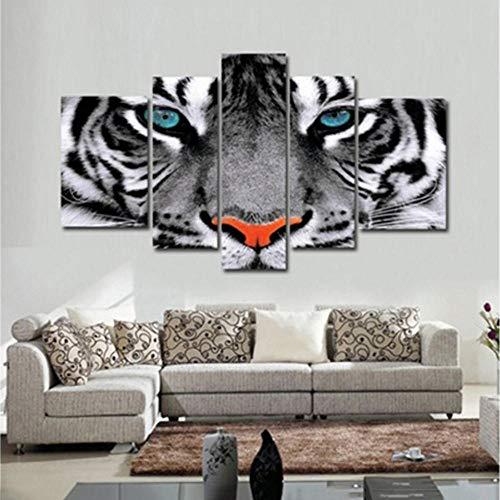 FA LEMON Moderne Wandkunst Poster Leinwand Malerei 5 Stücke Tier Tigeraugen Bilder Decor Wohnzimmer-40x60 40x80 40x100 cm kein Rahmen