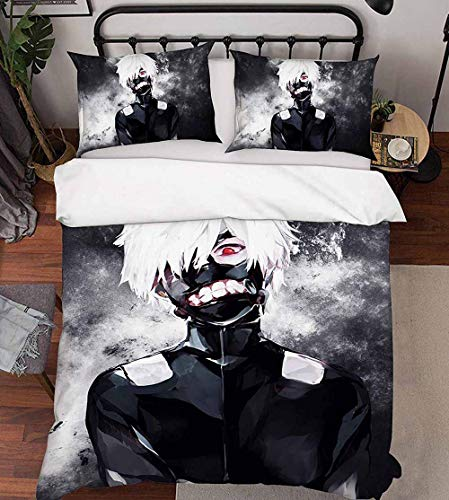 100 Ken (JSBVM 3 Stück Bettwäsche-Set 3D gedruckt Anime Tokyo Ghoul Ken Kaneki Muster Bettbezug-Set 100% Mikrofaser (1 Bettbezug 2 Kopfkissenbezüge),AUSingle)