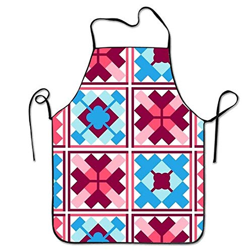 SPHGdiy Seamless Geometric Ethnic Patchwork Pattern Premium Quality Aprons Adjustable Bib Apron -