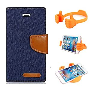 Aart Fancy Wallet Dairy Jeans Flip Case Cover for MotorolaMotorola-MotoG (NavyBlue) + Flexible Portable Mount Cradle Thumb OK Designed Stand Holder By Aart Store.