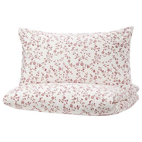 MBI Bettbezug und 2 Kissenbezüge, Weiß/Rosa, Größe zusammengebaut: Kissenbezug: 2 Packungen Bettbezuglänge: 200 cm, Bettbezugbreite: 200 cm, Kissenbezuglänge: 50 cm, Kissenbezugbreite: 80 cm